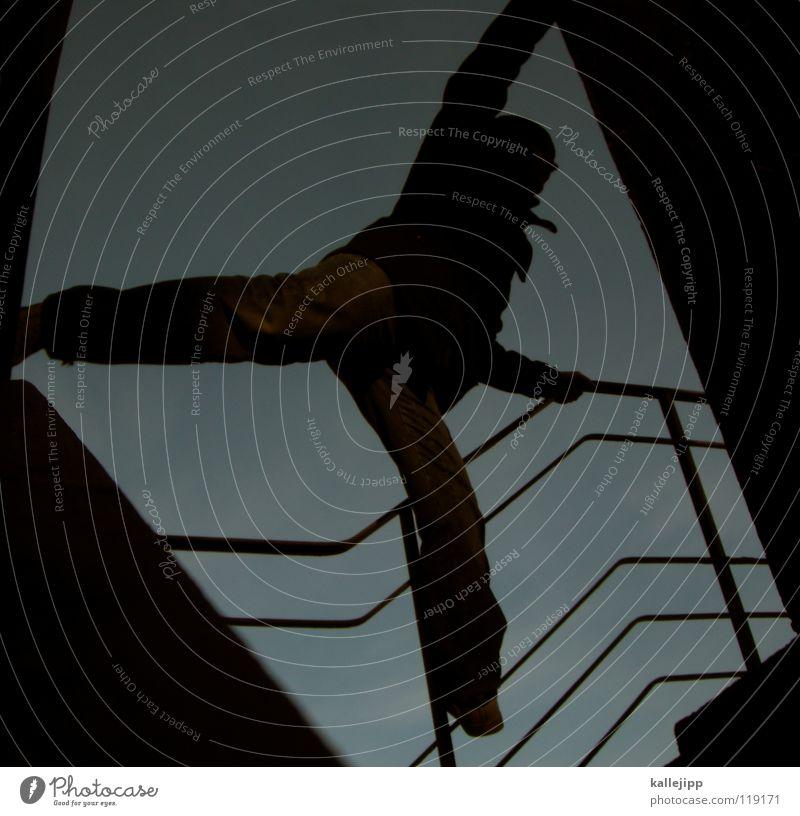 plattenballerina Motte springen Dieb Einbruch Kriminalität fallen ästhetisch Silhouette Suizidalität Dummkopf Parkhaus Blick Hochhaus Kapitän Lampe Aussicht