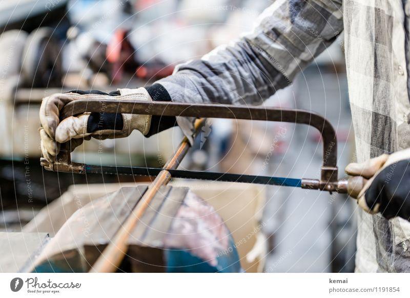 Sägen Arbeit & Erwerbstätigkeit Handwerker Arbeitsplatz Werkstatt Mensch Erwachsene Leben Arme 1 Hemd kariert Handschuhe Arbeitsschutz Arbeitshandschuhe