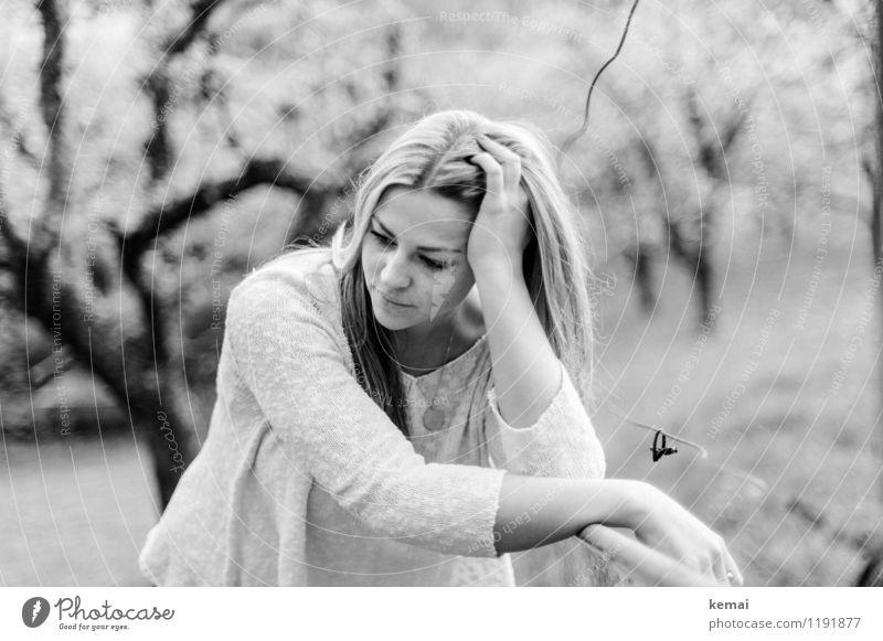 Beautiful thinking Mensch Natur Jugendliche schön Sommer Junge Frau Baum ruhig 18-30 Jahre Erwachsene Leben Traurigkeit Wiese feminin Stil Lifestyle