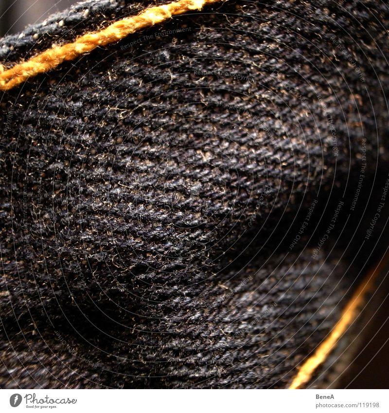 Jeans Stoff Hose Naht Bekleidung Design Stil Muster grau gelb Grunge dunkel Unschärfe nah Textilien diagonal Qualität Stabilität immer Makroaufnahme Nahaufnahme