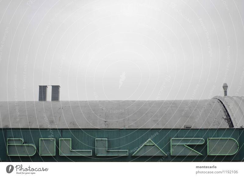 lust auf eine runde Design Freizeit & Hobby Spielen Billard Umwelt Himmel schlechtes Wetter Regen Gebäude Dach Schornstein Leuchtreklame Leuchtstoffröhre