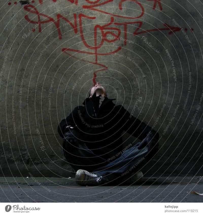 excursion Mensch Mann blau Hand weiß rot Freude ruhig Ernährung kalt Graffiti Wand sprechen Gefühle Mauer lustig