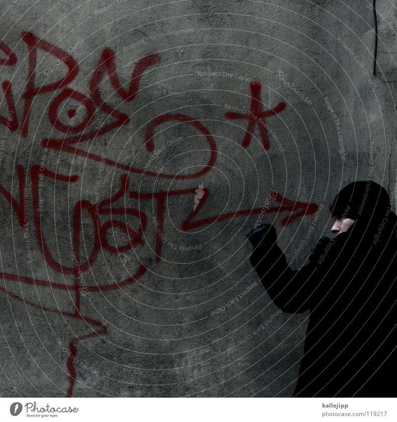 konfrontation Mensch Mann blau Hand weiß rot Freude ruhig Ernährung kalt Graffiti Wand sprechen Gefühle Mauer lustig