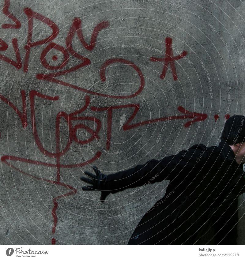exmatrikulation Mensch Mann blau weiß Hand rot Einsamkeit ruhig Freude kalt Graffiti Wand Gefühle Wege & Pfade Mauer lustig