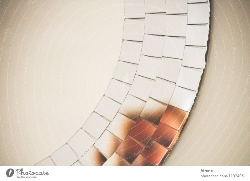 schwindelig | Kopfzerbrechen Spiegelbild Scherbe Glasscherbe Mosaik Glasbaustein kreisrund Teile u. Stücke braun silber weiß Angst Zukunftsangst verstört