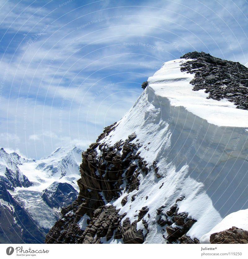 Big Mountain Himmel weiß blau Berge u. Gebirge wandern Wind Schweiz Bergsteigen aufsteigen Abstieg