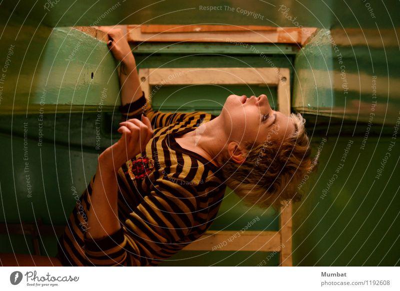 Zum Mond fliegen Mensch Jugendliche grün Farbe Junge Frau 18-30 Jahre schwarz Erwachsene gelb feminin Kunst Wohnung träumen retro einzigartig niedlich
