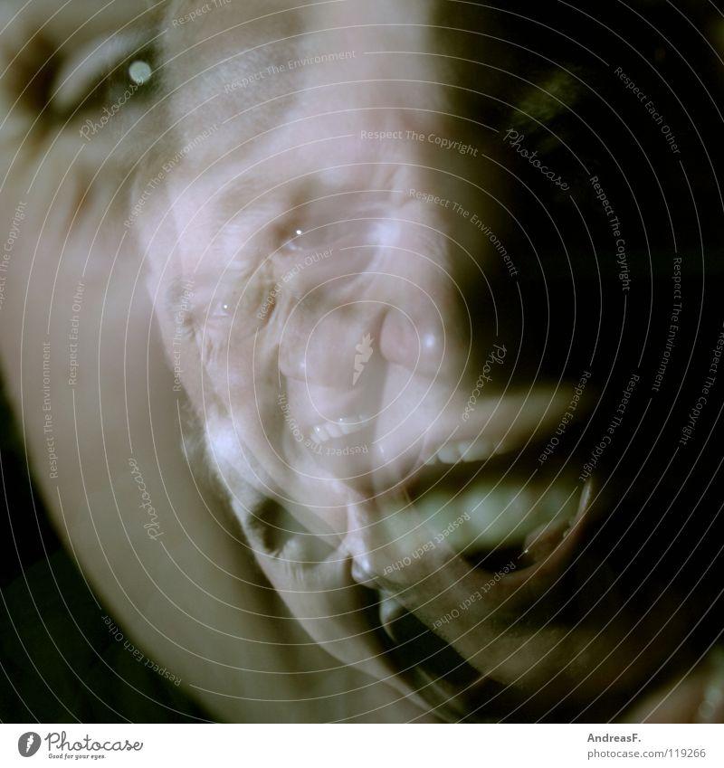 Prüfungsstress schreien Stress durchdrehen Wut Schizophrenie Krankheit Psychiatrie Seele Freak verrückt Doppelbelichtung Mann Junger Mann Panik gefährlich Angst