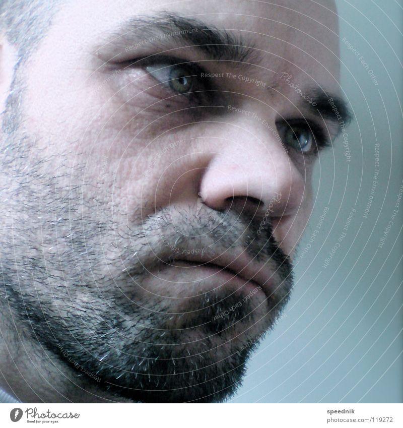 Ohne Titel Mann blau weiß schwarz Gesicht Auge Tod Leben Glück Kopf Denken Gesundheit Zufriedenheit rosa Mund