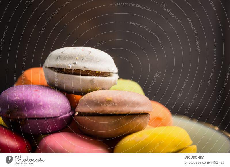 Macarons selber machen Dessert Süßwaren Ernährung Stil Design gelb rosa Hintergrundbild Snack Doppelkekse Keks Backwaren Französisch Küche Patisserie Konditorei