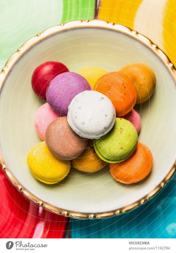 Bunte Macarons schön grün weiß rot Stil Essen Foodfotografie orange Design Ernährung Kochen & Garen & Backen Küche violett zart lecker Süßwaren