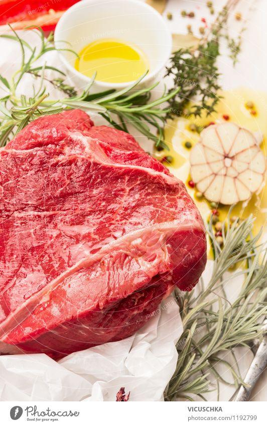 Fleisch Marinade mit frischen Kräutern machen Lebensmittel Kräuter & Gewürze Öl Ernährung Abendessen Festessen Bioprodukte Schalen & Schüsseln Stil Design