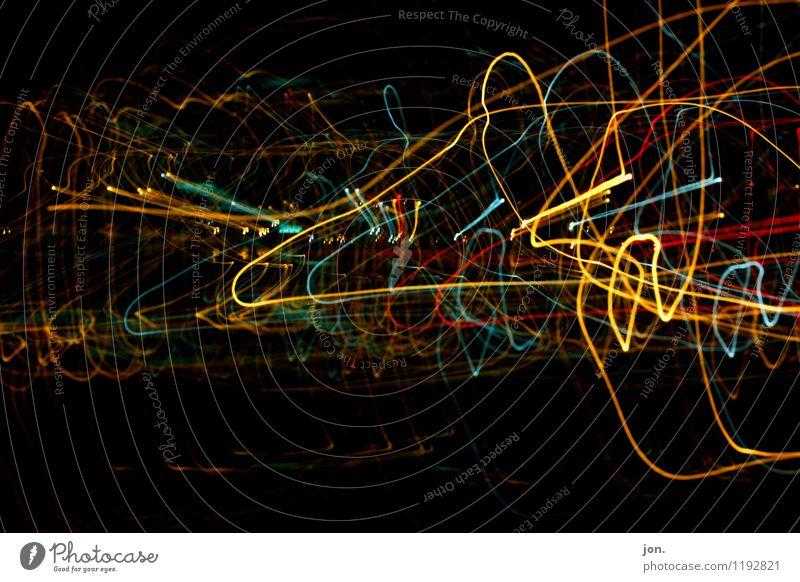 Electric Lights III blau grün rot schwarz gelb Beleuchtung Graffiti Bewegung Feste & Feiern Lifestyle Kunst Party glänzend orange leuchten Zeichen