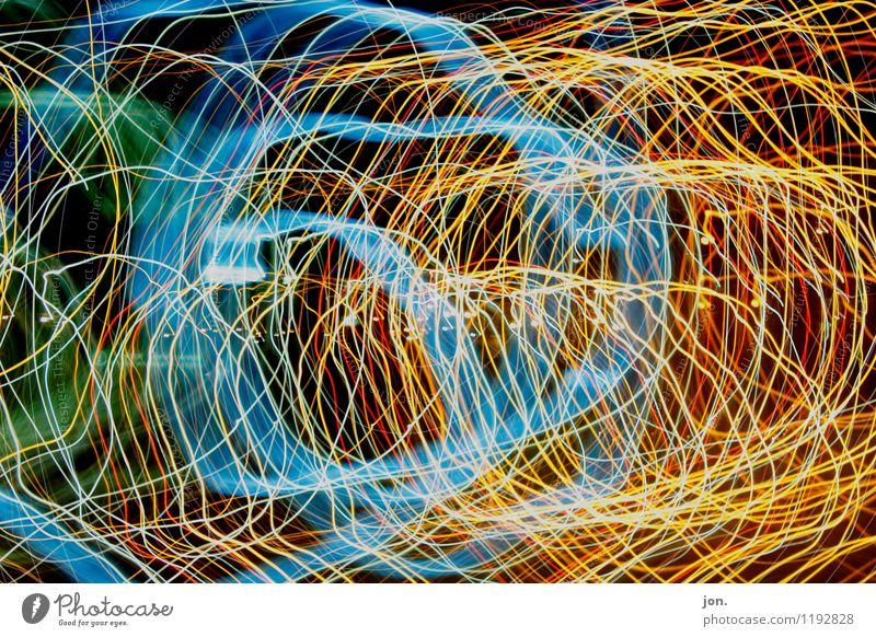 Electric Lights blau grün rot schwarz gelb Bewegung Feste & Feiern außergewöhnlich Linie Kunst hell Party glänzend orange leuchten elegant