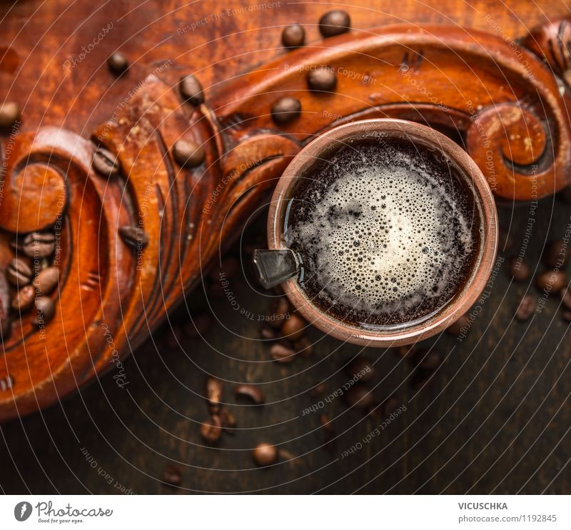 Guten Morgen Kaffee Lebensmittel Ernährung Frühstück Getränk Geschirr Tasse Löffel Lifestyle Stil Design Haus Tisch Küche Kaffeetasse Kaffeebohnen Kaffeepause
