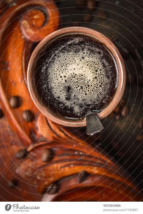 Morgen Kaffee Stil Lifestyle Lebensmittel Design Tisch Getränk stark Duft Café Restaurant Tasse altehrwürdig Holztisch aromatisch Geschmackssinn