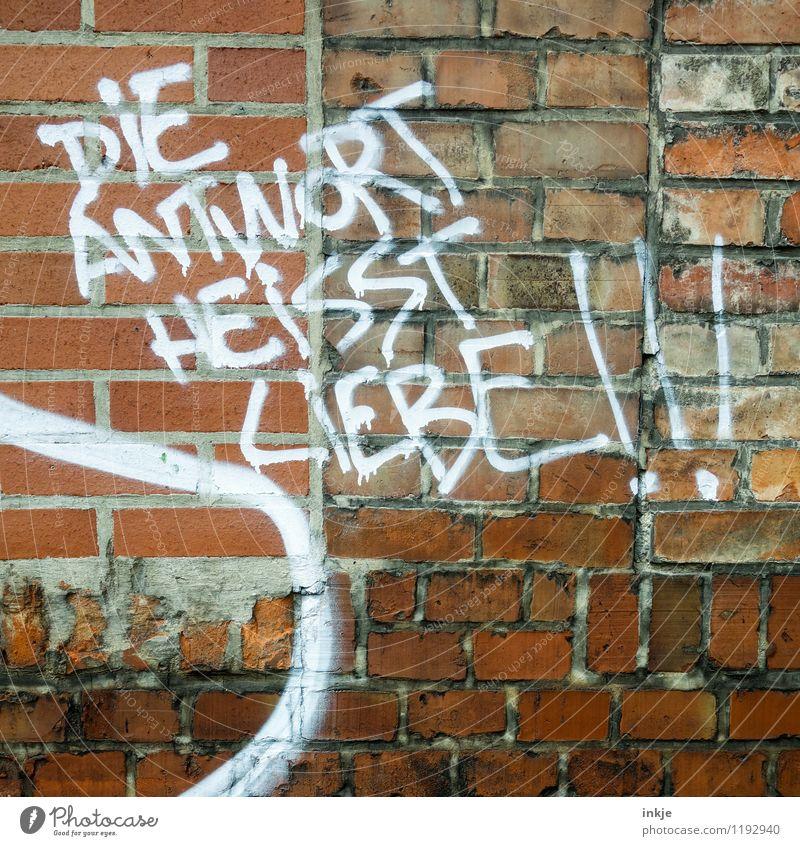 oder 23 Wand Liebe Graffiti Gefühle Mauer Fassade Schriftzeichen Lebensfreude Zeichen Leidenschaft Verliebtheit Backstein klug Frühlingsgefühle Sinn Antwort