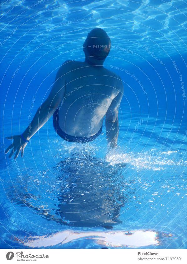 Schwerelos Mensch Ferien & Urlaub & Reisen blau Sommer Meer Freude Strand Erwachsene Sport Schwimmen & Baden Lifestyle maskulin Freizeit & Hobby Tourismus