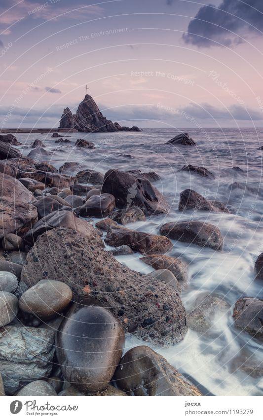 Kontaktstelle Ferien & Urlaub & Reisen Wellen Natur Landschaft Wasser Himmel Wolken Horizont Schönes Wetter Felsen Küste Meer Insel Stein Kreuz groß braun grau
