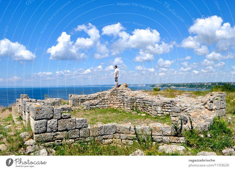 Ruine auf dem Meer Himmel Sommer Wasser Landschaft ruhig Wolken Luft Erde friedlich