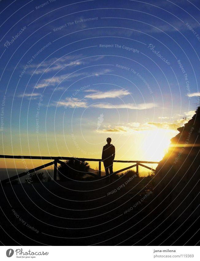 Letzter Abend Gegenlicht Beleuchtung Sonnenuntergang Licht Zaun Meer Wolken Ferien & Urlaub & Reisen Mann schwarz Sträucher Abenddämmerung dunkel Sonnenlicht