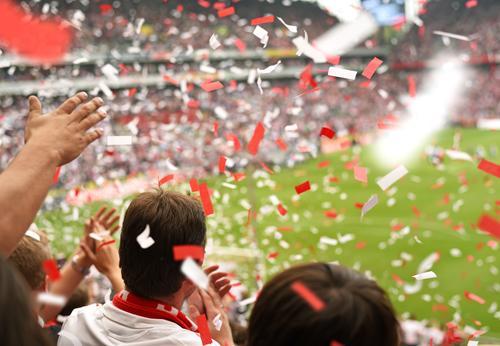 Stimmung! Feste & Feiern Ballsport Publikum Hooligan Tribüne Sportveranstaltung Pokal Erfolg Fußball Sportstätten Fußballplatz Stadion Mensch Junger Mann