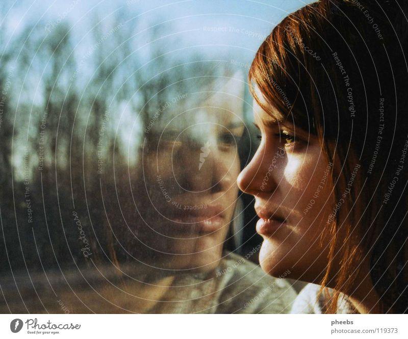 mein zweites ich Frau Baum Gesicht Fenster Wiese Eisenbahn Strahlung