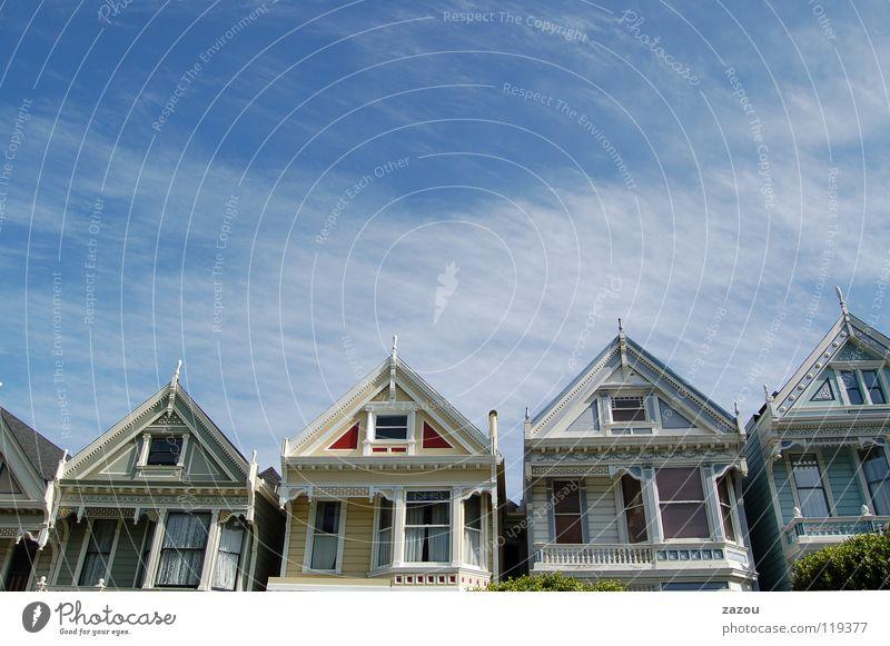 Alamo Square 3:00 pm San Francisco Kalifornien Stadt Haus Amerika Landhaus Wolken Fenster Holzhaus Straße USA Himmel Hütte Ferien & Urlaub & Reisen