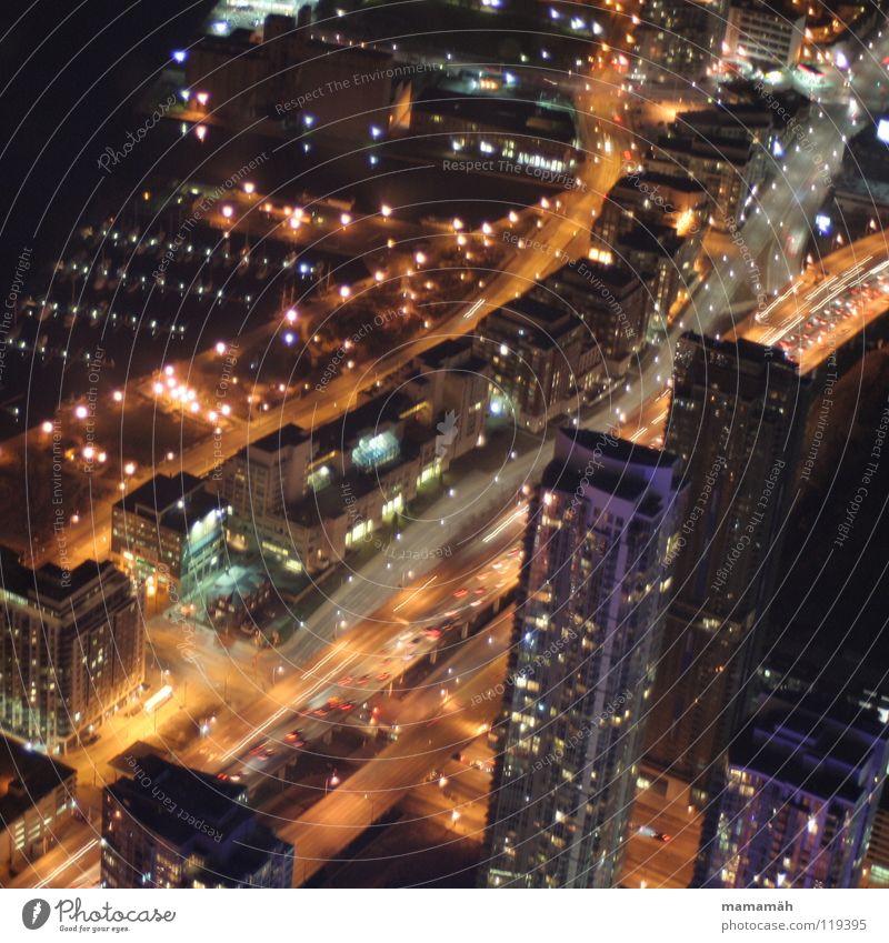 Toronto bei Nacht! Teil 3 Stadt Haus Straße dunkel See PKW Wasserfahrzeug Küste Hochhaus Hafen Jagd Kanada Straßenbeleuchtung Scheinwerfer