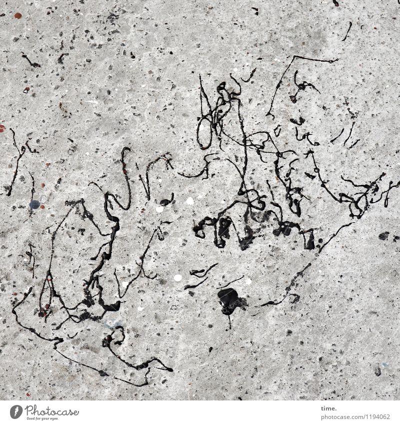 vielfältig | Schwarze Phantasie auf hellem Untergrund Arbeit & Erwerbstätigkeit Arbeitsplatz Handwerk Kunst Gemälde Wege & Pfade Teer Stein Beton Linie maritim