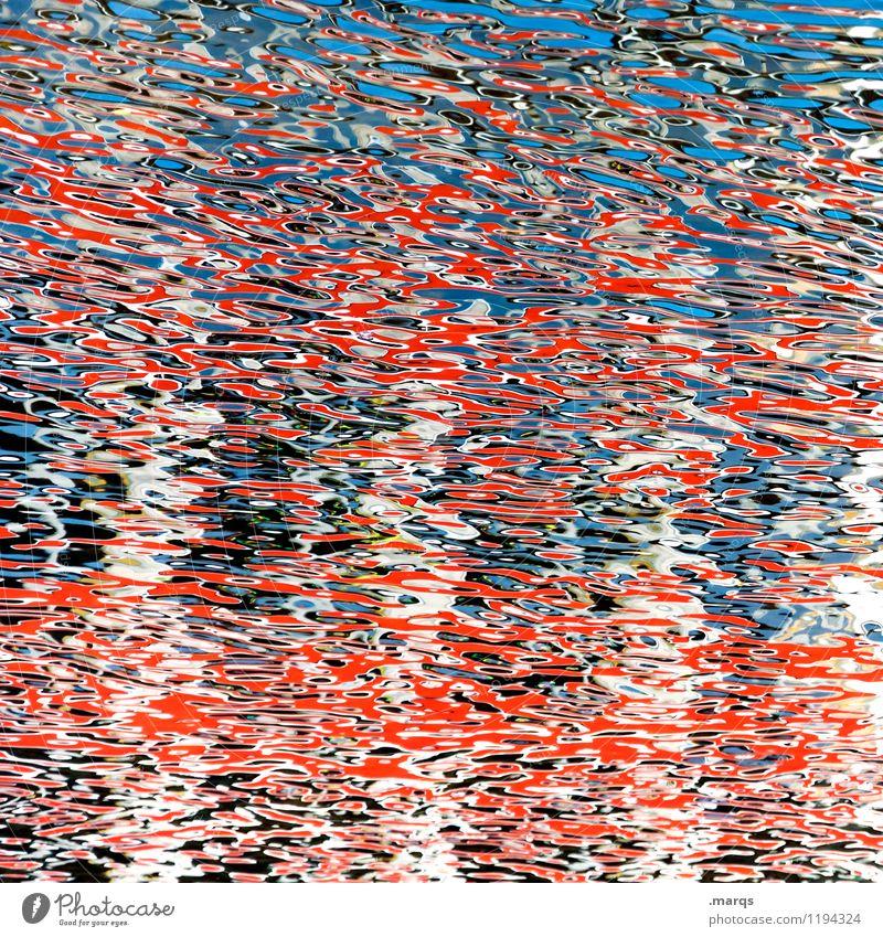 Aquarell Stil Design Umwelt Wasser Wellen außergewöhnlich Flüssigkeit einzigartig blau rot Farbe Hintergrundbild LSD Farbfoto Außenaufnahme Nahaufnahme abstrakt
