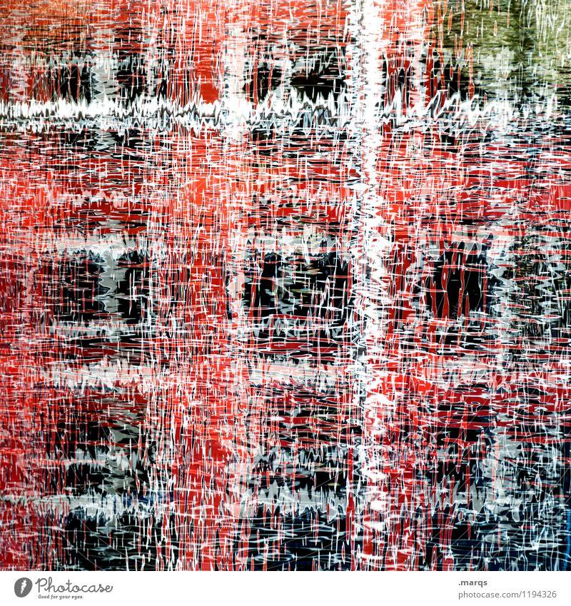 Wirr Stil Natur Wasser Linie außergewöhnlich Flüssigkeit einzigartig verrückt rot weiß Perspektive Irritation Doppelbelichtung Farbfoto Außenaufnahme abstrakt