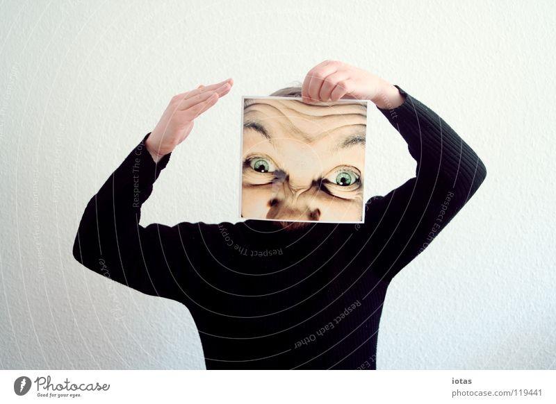 lülülülülülülüüüüüüüü Mann maskulin Porträt verrückt schleichend frontal dumm gestikulieren gestellt abstrakt Blick Aggression Ehrlichkeit Pullover Oberkörper