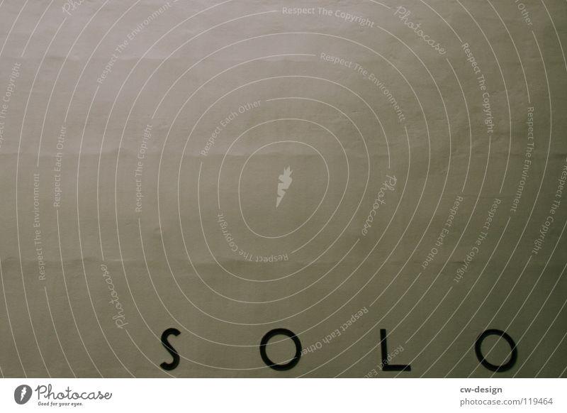 einsam!? Einsamkeit dunkel Design Symbole & Metaphern Schriftzeichen Buchstaben Beule Linearität braun gelb Muster Wort Kritzelei Wand grau schwarz Verzweiflung