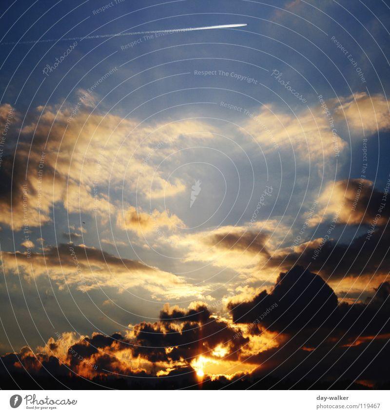 Heaven and hell Natur Himmel Sonne blau rot Sommer Ferien & Urlaub & Reisen Wolken gelb dunkel Linie Flugzeug Wetter hoch Geschwindigkeit Abenddämmerung