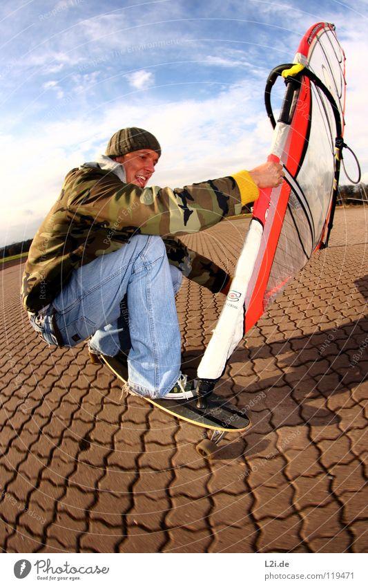 STREET[WIND]SURFER II Himmel Mann Freude Wolken Sport Spielen lachen Freizeit & Hobby Aktion Jeanshose Mütze Surfen Skateboarding Strommast Parkplatz