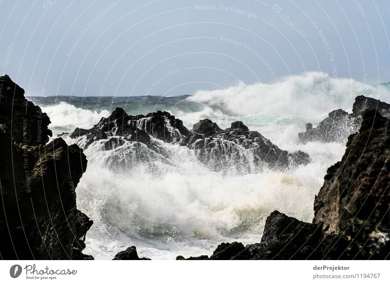 Tosendes Meer Umwelt Natur Landschaft Pflanze Tier Urelemente Sommer schlechtes Wetter Felsen Wellen Küste Seeufer Insel kalt Gefühle Kraft standhaft gefährlich