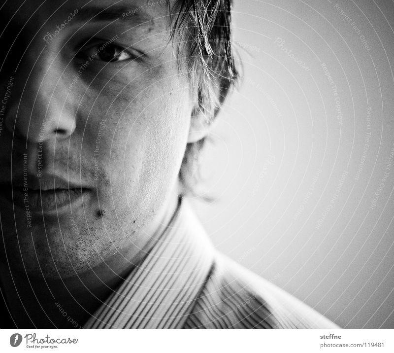 Geburtstagskind Mann weiß Gesicht ruhig schwarz Auge dunkel Haare & Frisuren Kopf Zufriedenheit Konzentration Hemd Typ Mitarbeiter Kerl Brennpunkt