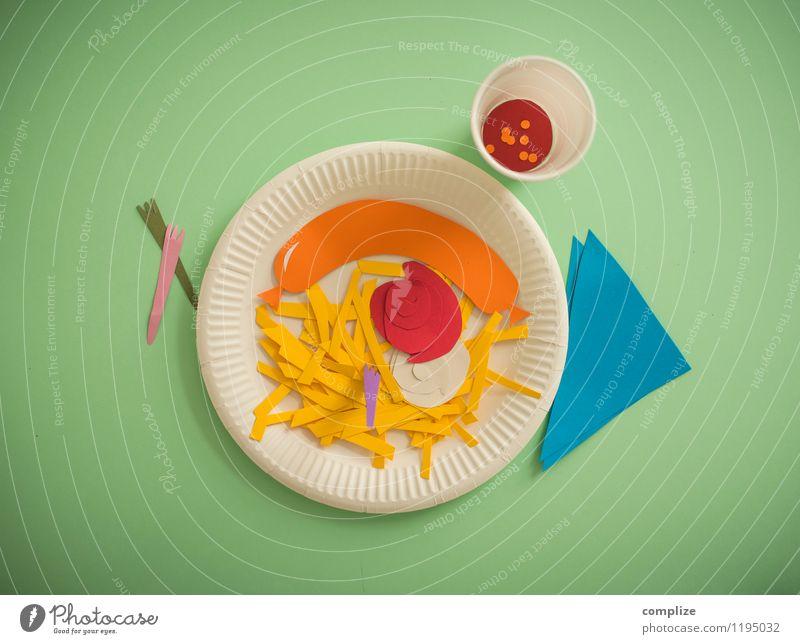 Pommes rot-weiß, Wurst & Cola Lebensmittel Wurstwaren Ernährung Essen Mittagessen Diät Fastfood Getränk Limonade Teller Gesundheit Übergewicht Gastronomie