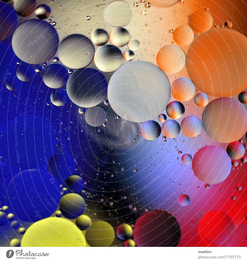 bubbly blau Wasser weiß rot schwarz gelb grau orange Kommunizieren rund Kugel Erdöl Mischung verteilt abstrakt