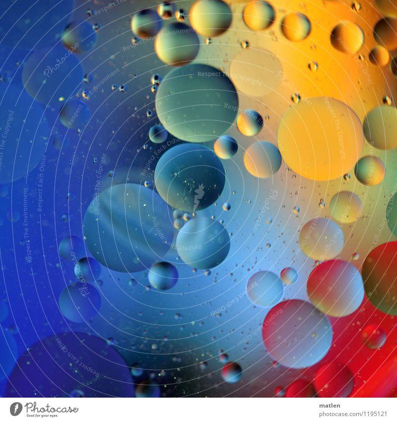 Ballaballa blau grün Wasser rot gelb Wassertropfen Kugel Öl Farbverlauf