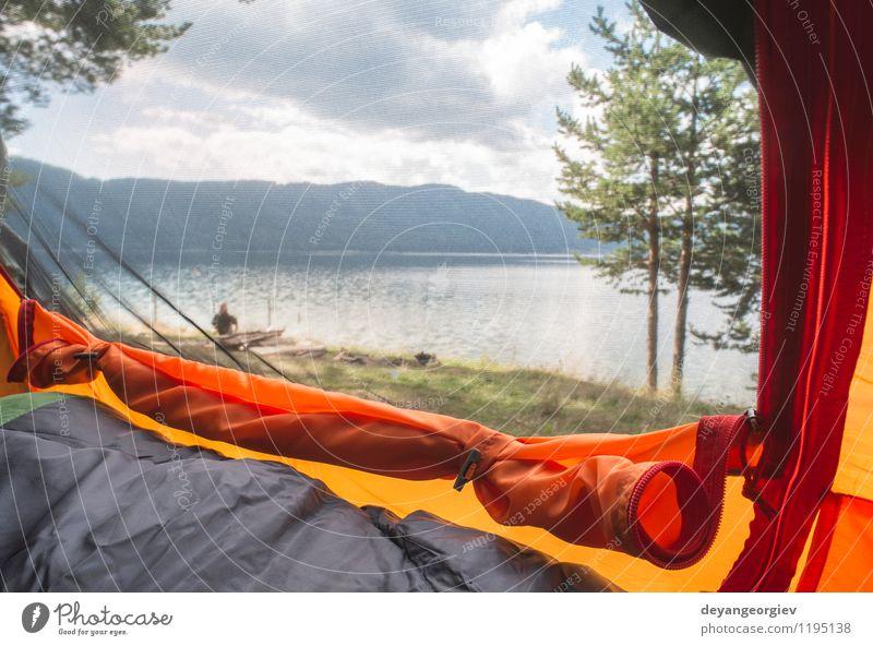 Blick von innen auf das Zelt Natur Ferien & Urlaub & Reisen Mann Sommer Sonne Erholung Landschaft Wald Erwachsene Junge lustig Familie & Verwandtschaft Fuß wild