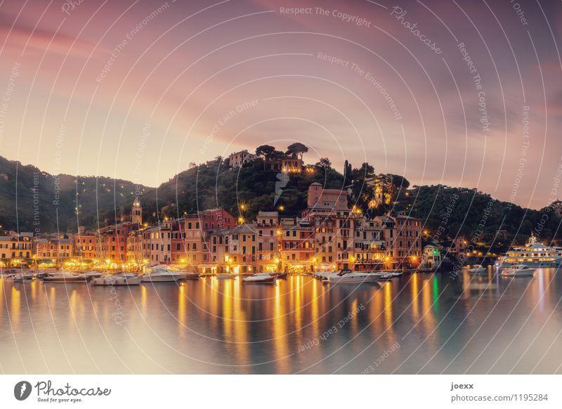 Portofino Himmel Ferien & Urlaub & Reisen grün schön Sommer Landschaft ruhig Wolken Haus Berge u. Gebirge gelb Küste braun hell rosa Fassade