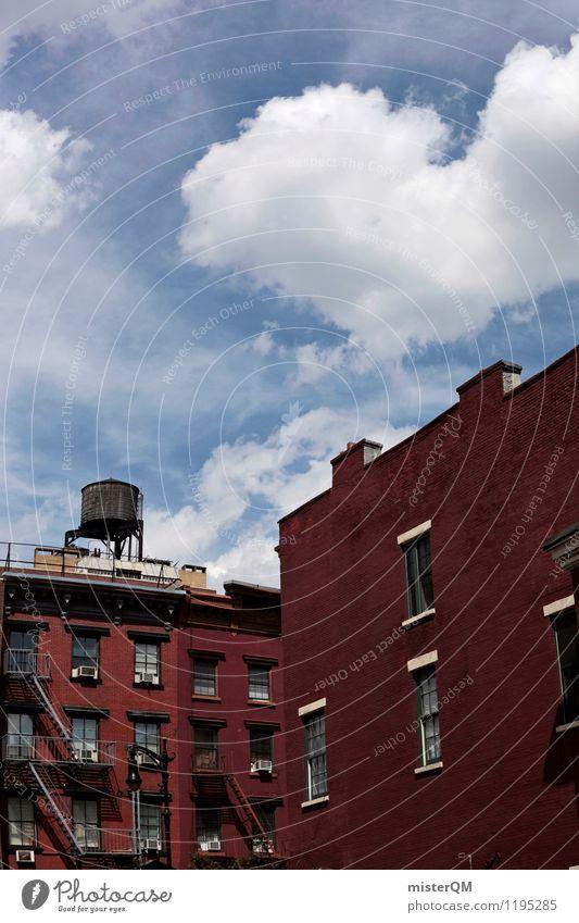 New York Rot Blau. Kunst ästhetisch Zufriedenheit Architektur New York City New York State Wasserturm Häuserzeile Backsteinhaus Himmel (Jenseits) Städtereise