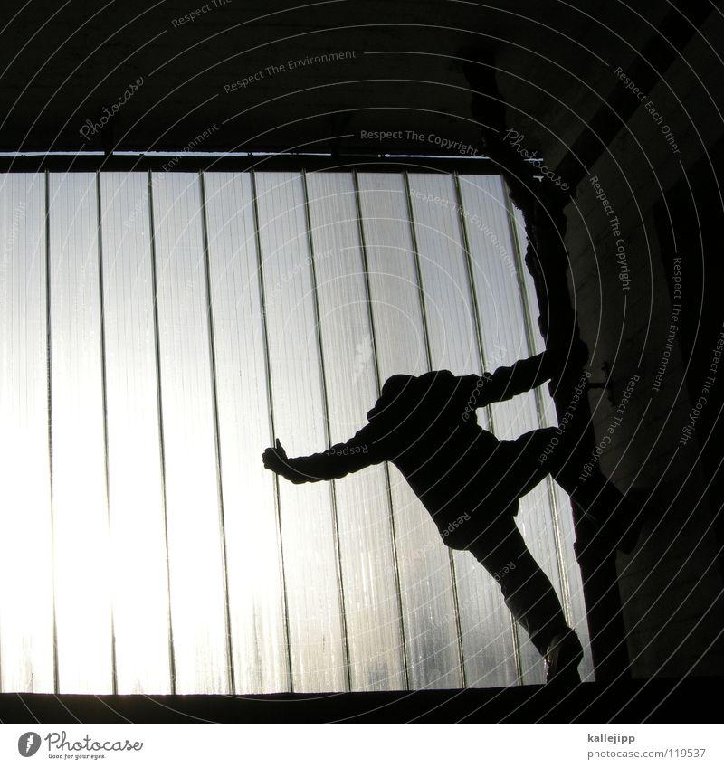 menschenaffen Mann Silhouette Fenster Parkhaus Licht Gegenlicht Jacke Mantel Mütze Handschuhe ausbreiten Astronaut Zukunft Kragen Held Superman Comic abstrakt
