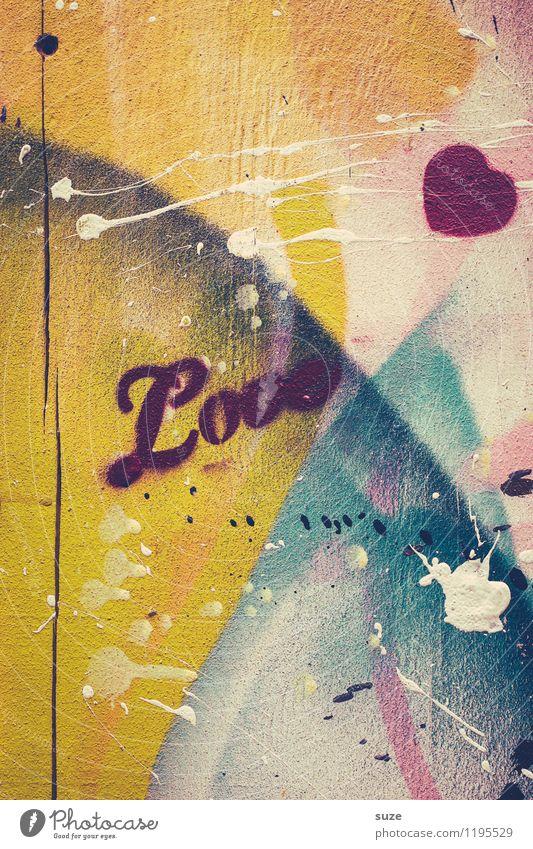 Liebe und andere Kleinigkeiten Wand Gefühle Graffiti Stil Mauer Glück Lifestyle Fassade Design wild authentisch Schriftzeichen verrückt Kreativität Lebensfreude