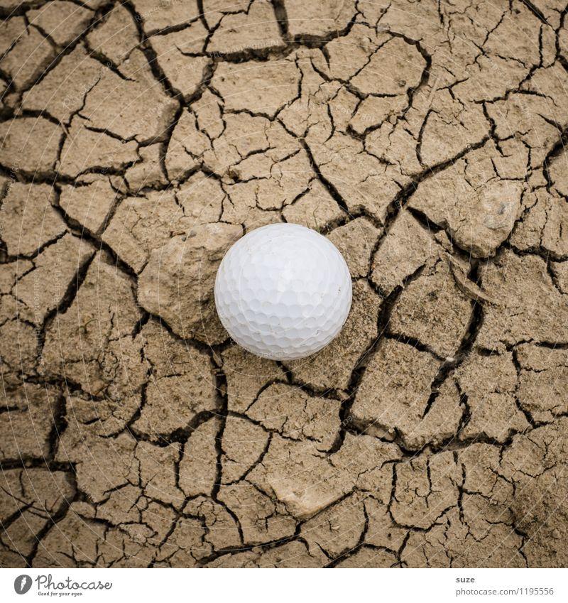 Fehl am Platz | Grün Natur weiß Einsamkeit Sport Spielen klein braun Freizeit & Hobby Erde rund trocken Suche Ball Wüste Riss Golf