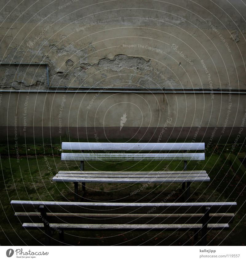 auf die lange bank schieben ruhig Altersversorgung Park Mauer Sehnsucht Pause Freizeit & Hobby Bank alt Bauernhof Leitung Kabel Einsamkeit Gesprächspartner