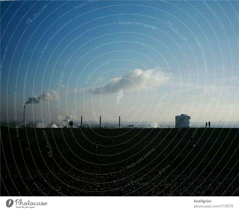 Revierluft Himmel weiß blau Wolken dunkel Luft hell Industrie Schornstein Wasserdampf Halde
