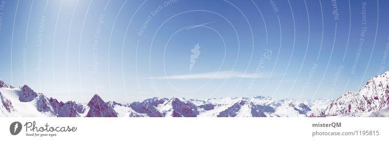 Überblick. Ferne Winter Berge u. Gebirge kalt Kunst Schneefall Zufriedenheit ästhetisch Alpen Schneebedeckte Gipfel Panorama (Bildformat) abgelegen